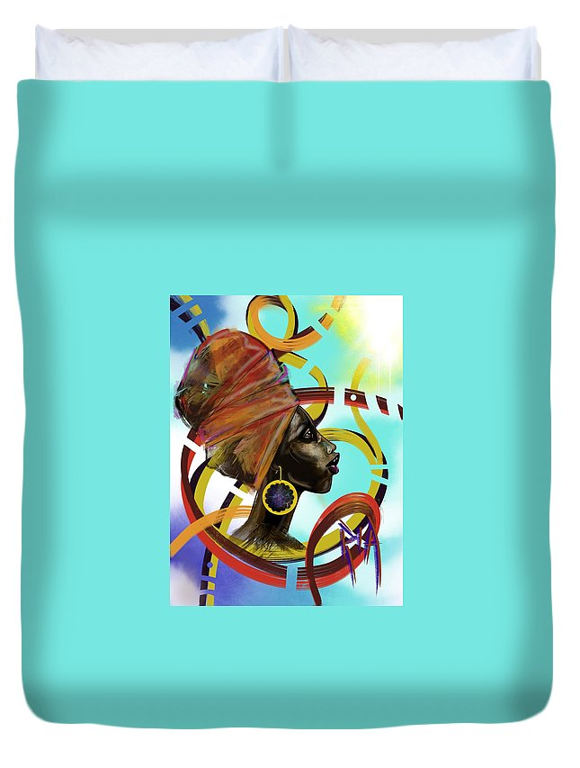 Pray Duvet Cover featuring the painting Auto Pilot by Artist RiA