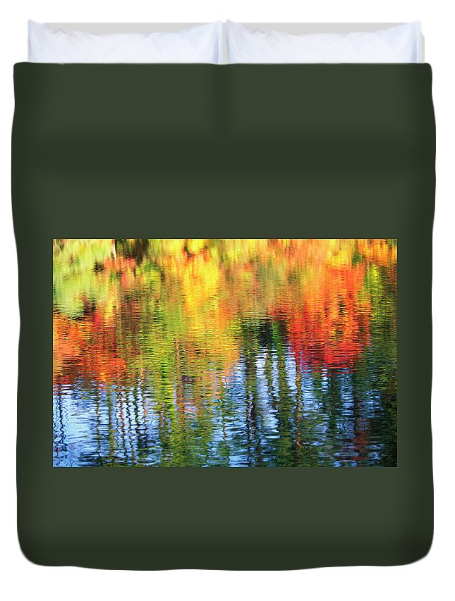 Outdoors Duvet Cover featuring the photograph Autumn Color Reflection by Ooyoo