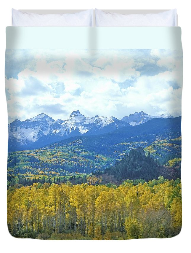 Scenics Duvet Cover featuring the photograph Autumn Colors In The Sneffels Mountain by Visionsofamerica/joe Sohm