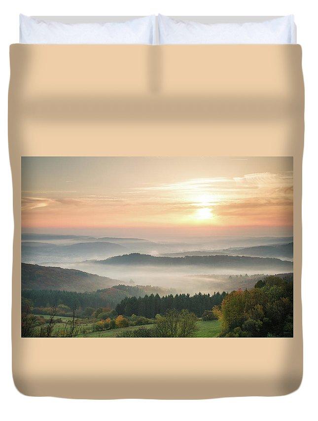 Scenics Duvet Cover featuring the photograph Autumn Foggy Sunrise by Marcoschmidt.net