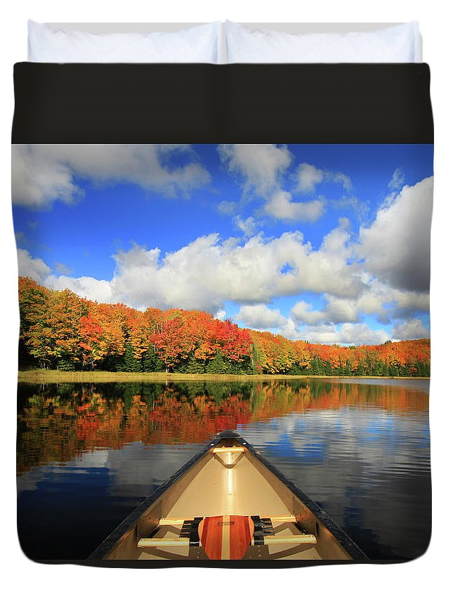 Scenics Duvet Cover featuring the photograph Autumn In A Canoe by Photos By Michael Crowley
