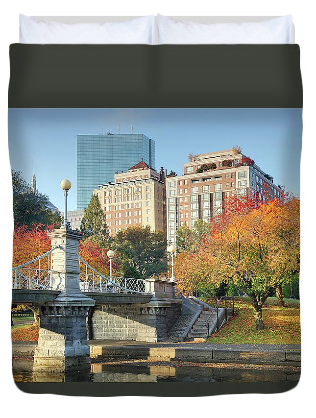 Downtown District Duvet Cover featuring the photograph Autumn In Boston by Denistangneyjr