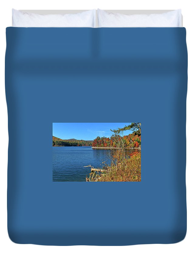 Lake Glenville Duvet Cover featuring the photograph Autumn In North Carolina by HH Photography of Florida