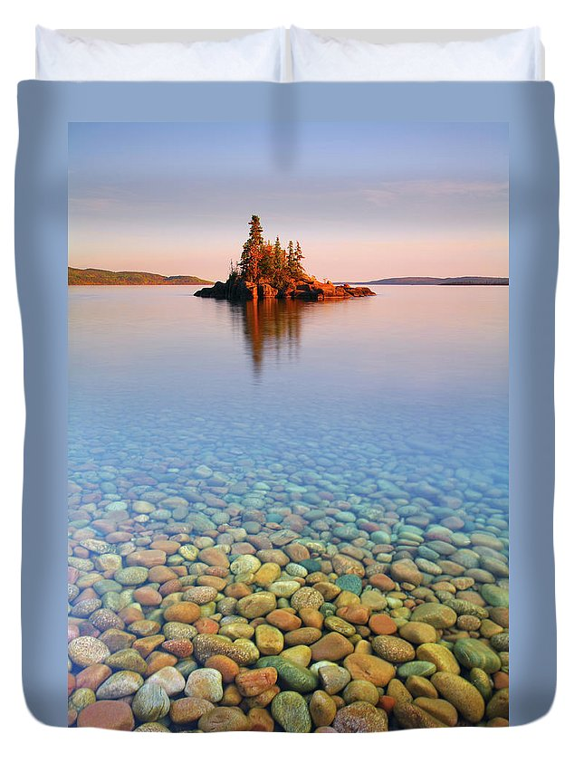Tranquility Duvet Cover featuring the photograph Autumn Sunset On A Tiny Island by Henry@scenicfoto.com
