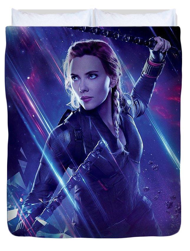 Avengers Endgame Black Widow Duvet Cover featuring the digital art Avengers Endgame - Black Widow by Geek N Rock
