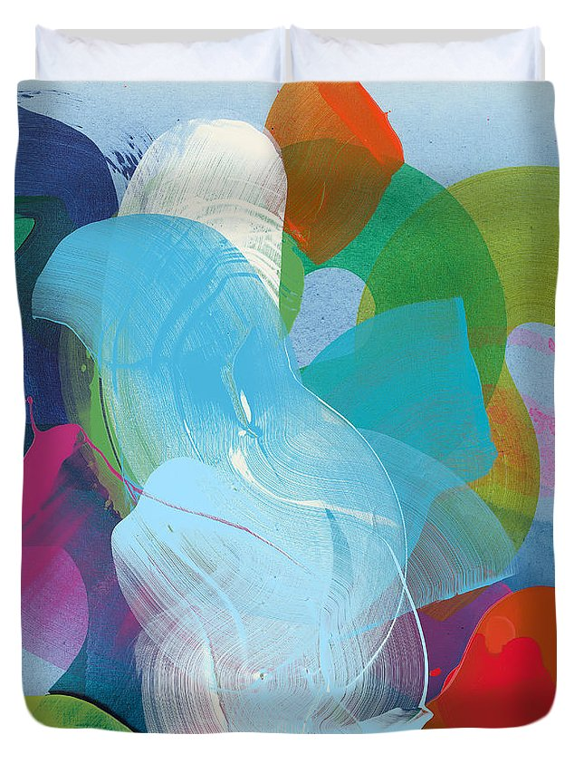 Abstract Duvet Cover featuring the painting Away A While by Claire Desjardins