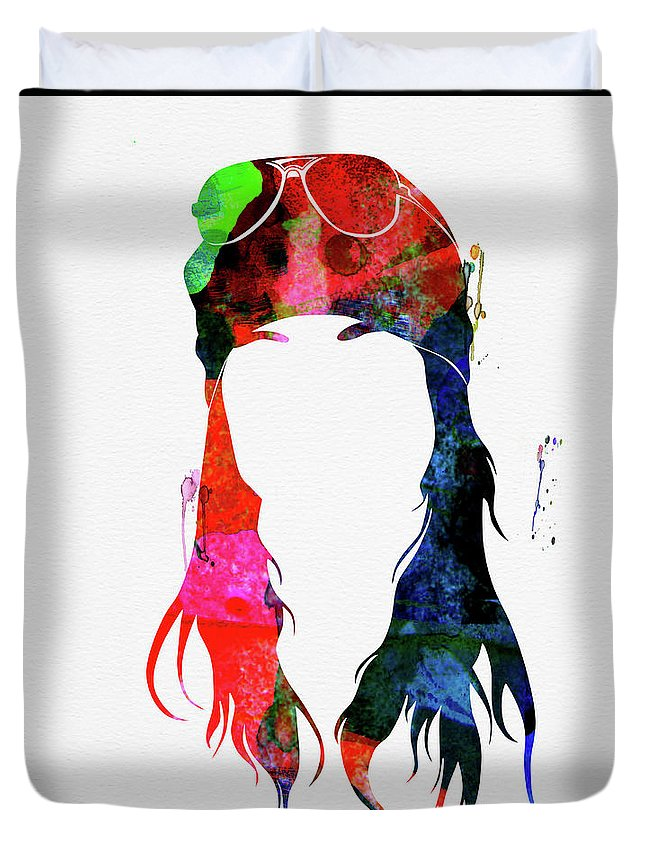 Axl Rose Duvet Cover featuring the mixed media Axl Rose Watercolor by Naxart Studio