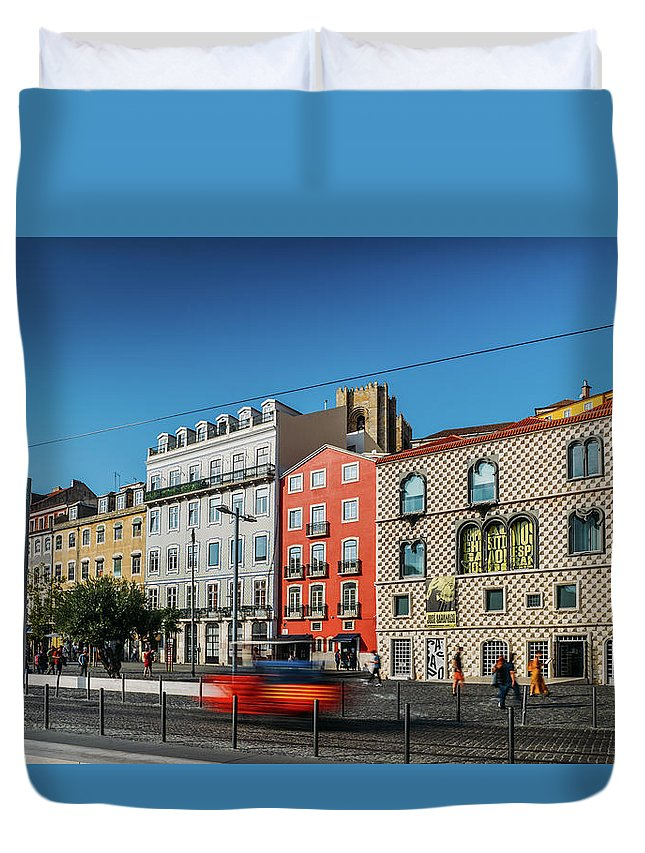Wide Angle Duvet Cover featuring the photograph Azulejo Tiled Buildings In Alfama, Lisbon by Alexandre Rotenberg