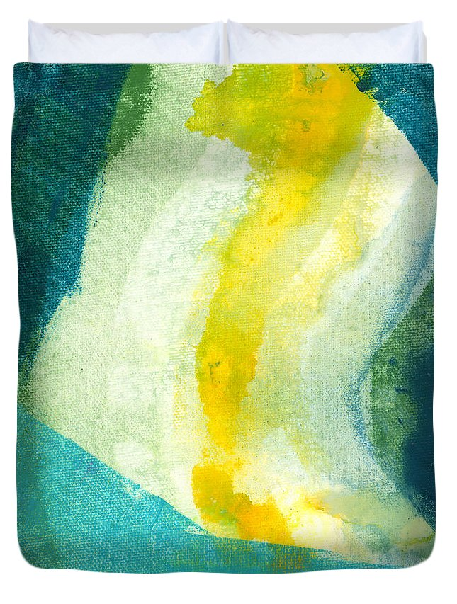 Abstract Duvet Cover featuring the painting Back by Claire Desjardins