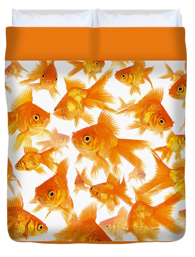 Orange Color Duvet Cover featuring the photograph Background Showing A Large Group Of by Cocoon
