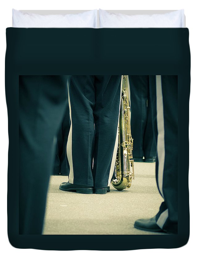 Versailles Duvet Cover featuring the photograph Backlegs Of Military Musician With by Boma.dfoto@gmail.com