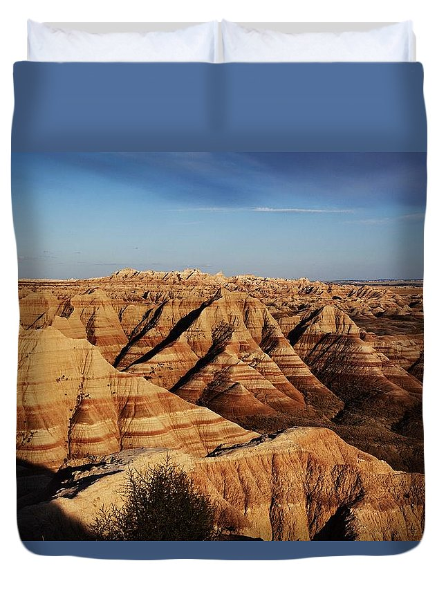 Badlands Duvet Cover featuring the painting Badlands National Park, In Southwest South Dakota, United States. Original Image From Carol M. Highs by Celestial Images