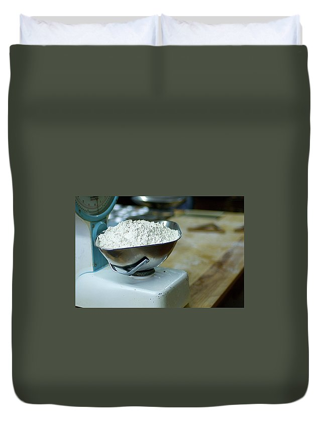 Bakery Duvet Cover featuring the photograph Bakery Scales by Charlie Ingham