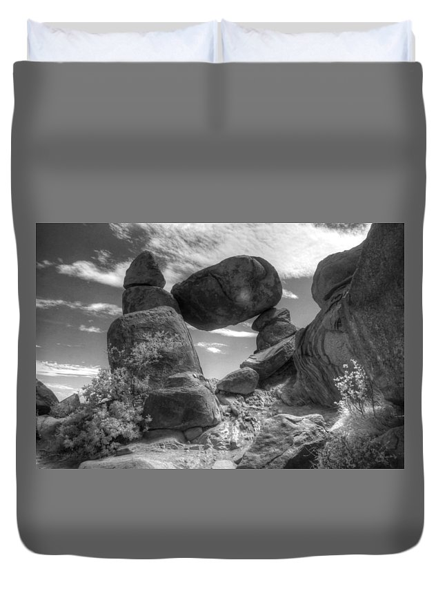 Balance Rock Duvet Cover featuring the photograph Balanced Rock Big Bend Grapevine Infrared by Jane Linders