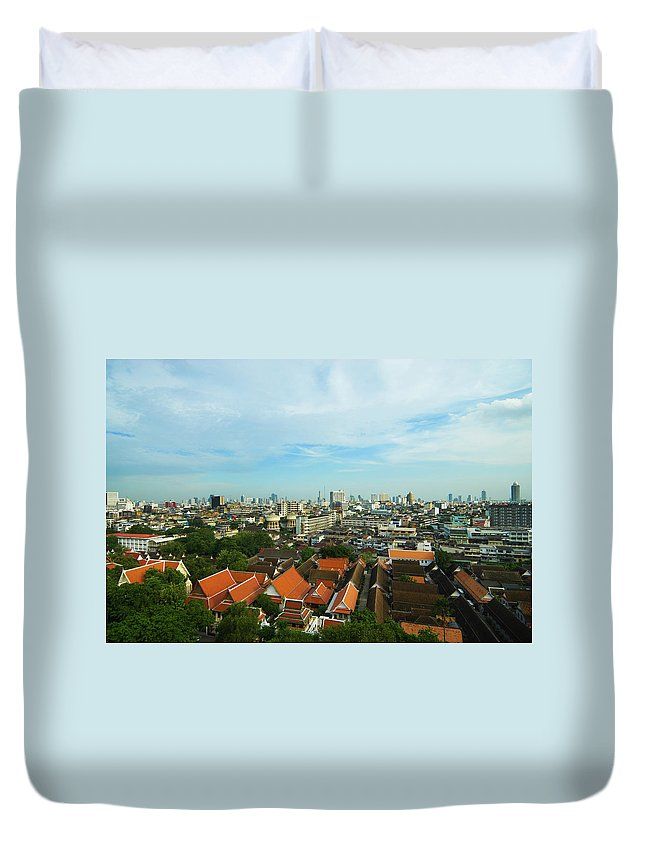 Tropical Tree Duvet Cover featuring the photograph Bangkok View With Temple Roofs 2 by Sndrk