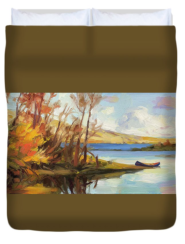 River Duvet Cover featuring the painting Banking On The Columbia by Steve Henderson