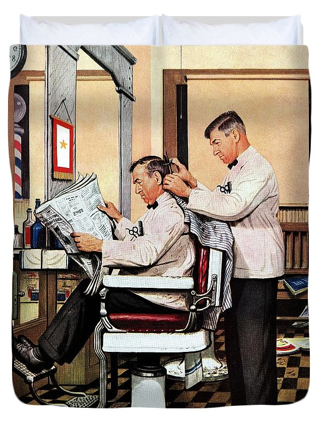 Barbers Duvet Cover featuring the drawing Barber Getting Haircut by Stevan Dohanos