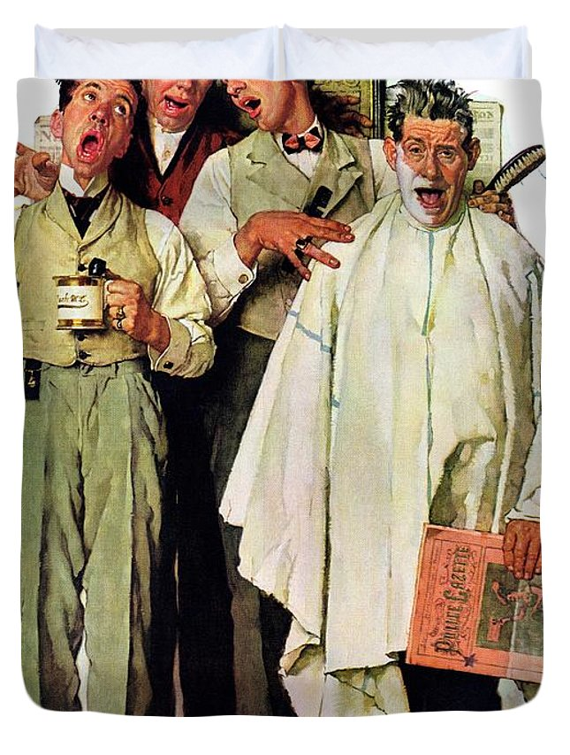 Barbers Duvet Cover featuring the drawing Barbershop Quartet by Norman Rockwell