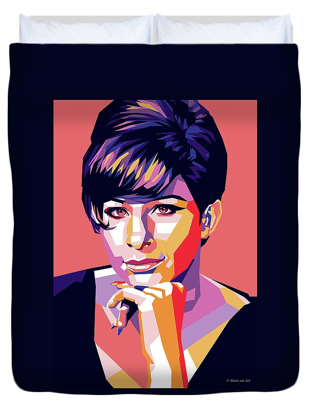 Barbra Duvet Cover featuring the digital art Barbra Streisand Pop Art by Stars on Art