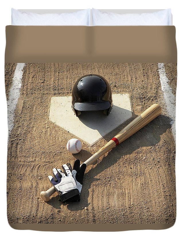 Shadow Duvet Cover featuring the photograph Baseball, Bat, Batting Gloves And by Thomas Northcut