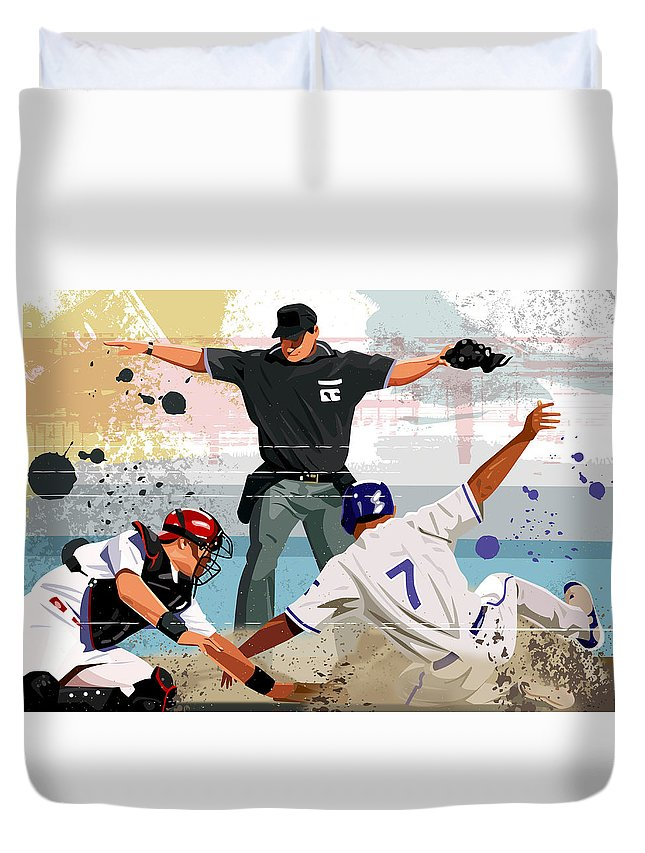 Helmet Duvet Cover featuring the digital art Baseball Player Safe At Home Plate by Greg Paprocki