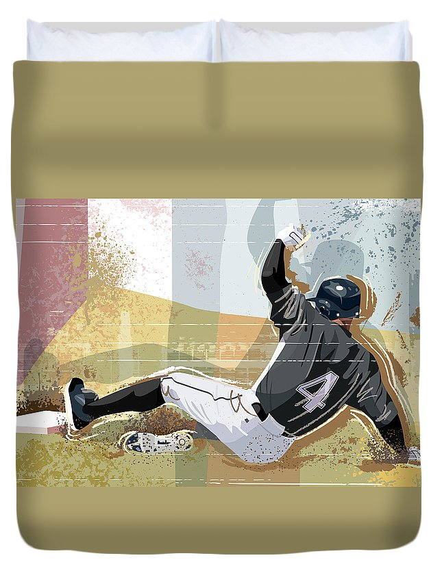 Sports Helmet Duvet Cover featuring the digital art Baseball Player Sliding Into Base by Greg Paprocki