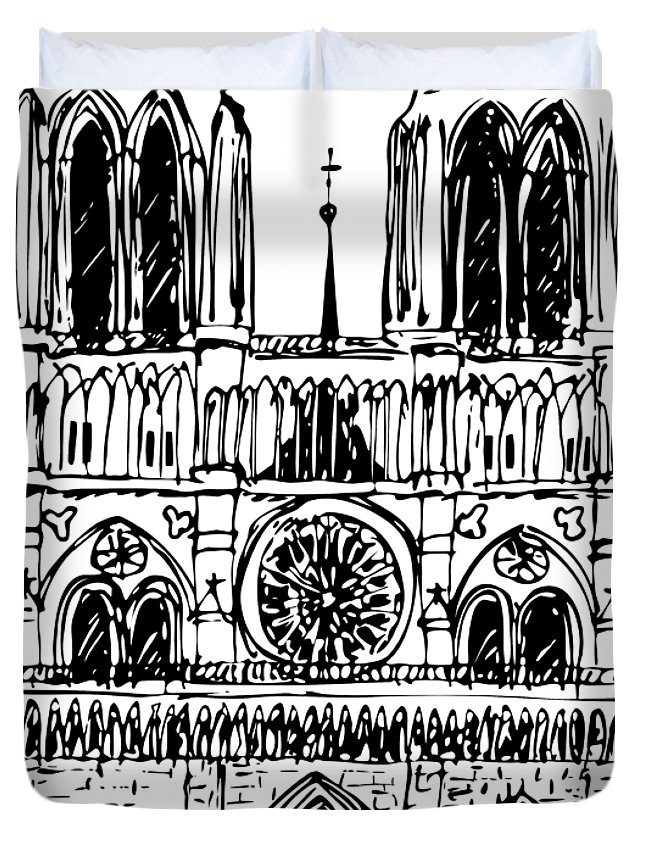 Notre Duvet Cover featuring the drawing Basilica Notre Dame by Michal Boubin
