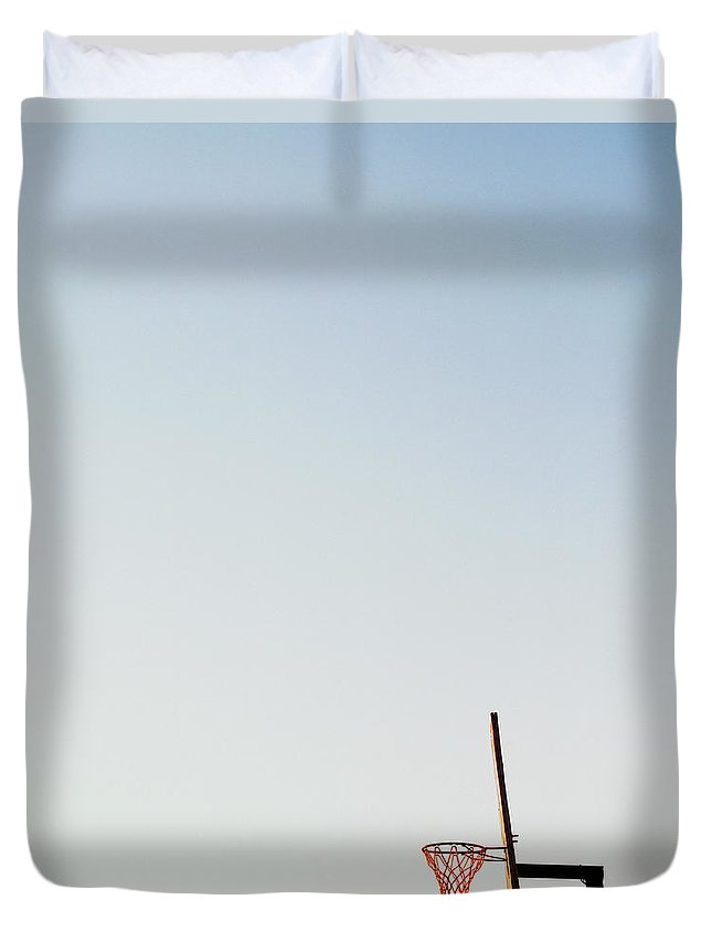 Clear Sky Duvet Cover featuring the photograph Basketball Net And Backboard Against by Shaun Egan