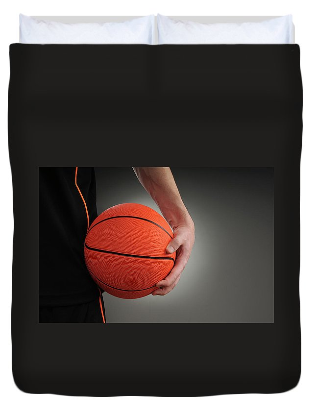 People Duvet Cover featuring the photograph Basketball Player by Mumininan