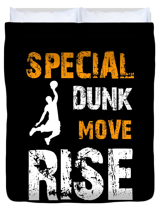 Basketball Duvet Cover featuring the digital art Basketball Sports Player Special Dunk Move Rise Gift Idea by Haselshirt