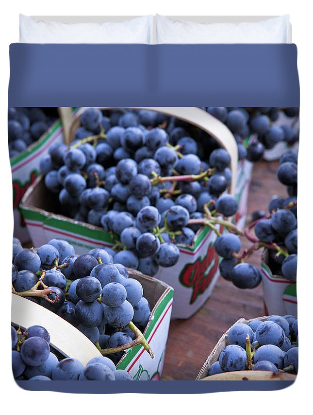 Toronto Duvet Cover featuring the photograph Baskets Of Grapes by Mary Smyth