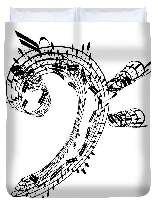 Sheet Music Duvet Cover featuring the digital art Bass Clef Made Of Music Notes by Ian Mckinnell