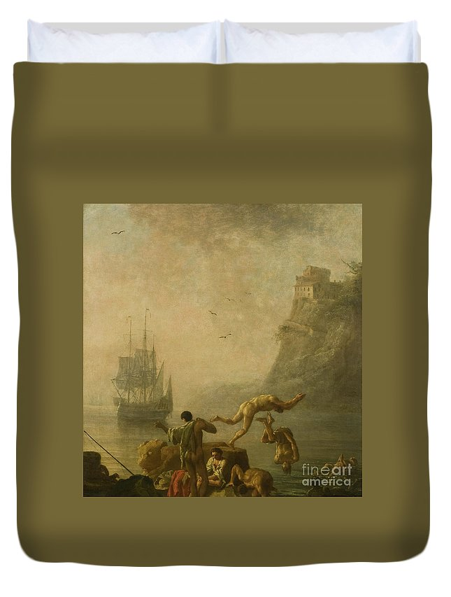 Bathing Men Duvet Cover featuring the painting Bathing Men by Pierre Jacques Volaire