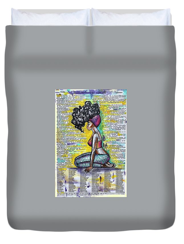 Words Duvet Cover featuring the painting Be Strong-Don't let them break you by Artist RiA