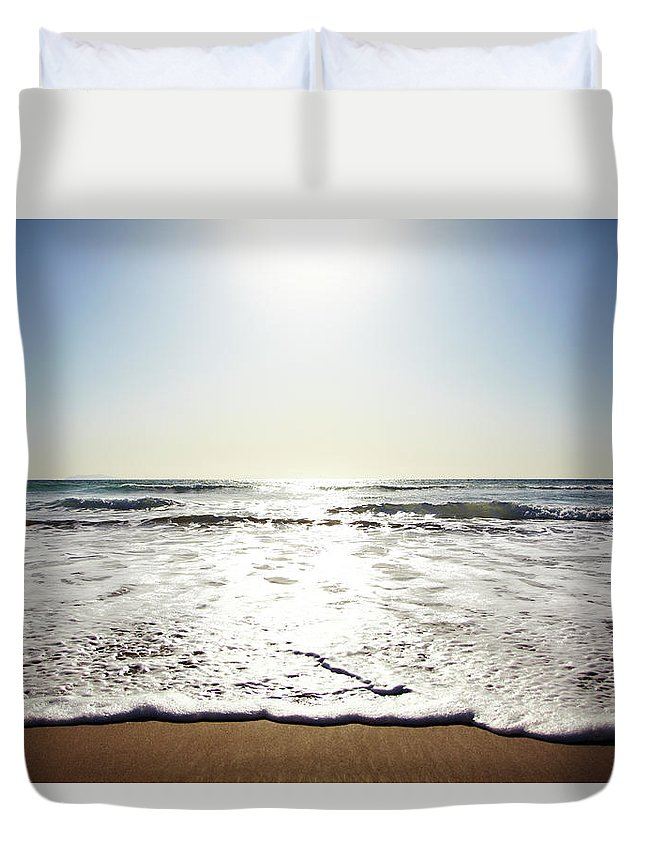 Tranquility Duvet Cover featuring the photograph Beach In California On Pacific Ocean by Thomas Northcut