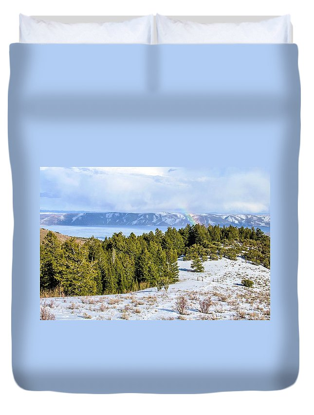 Tranquility Duvet Cover featuring the photograph Bear Lake Scenic Byway by ©anitaburke