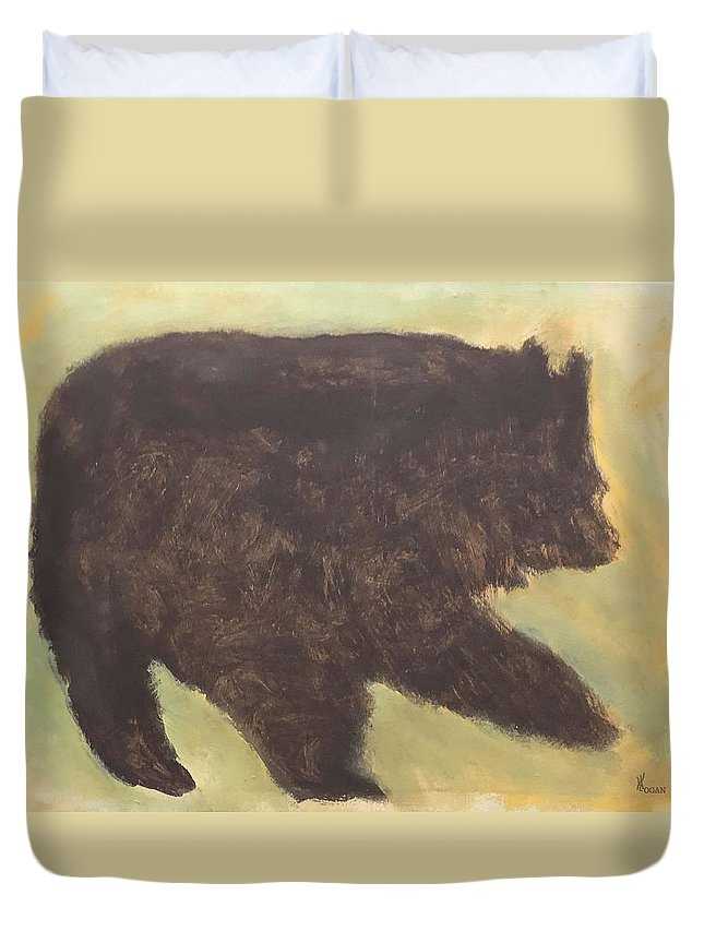 Bear Animals Wildlife Nature Native Aboriginal Metis Indian Duvet Cover featuring the mixed media Bear by Will Logan