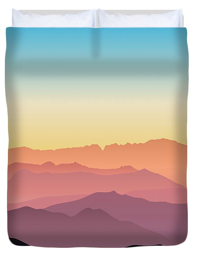 Silhouette Duvet Cover featuring the digital art Beautiful And Colorful Mountains by Hannah Coley
