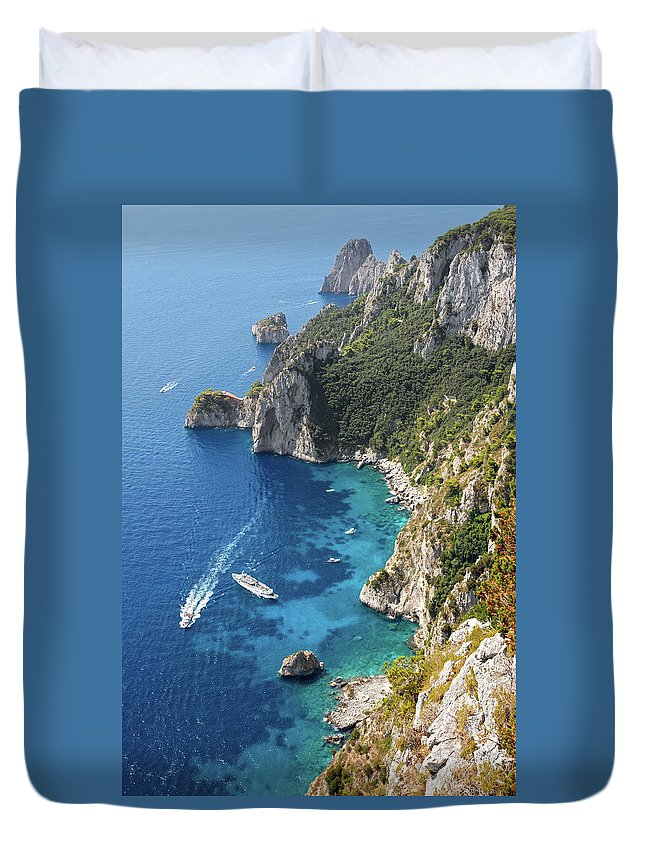 Scenics Duvet Cover featuring the photograph Beautiful Capris Sea by Pierpaolo Paldino