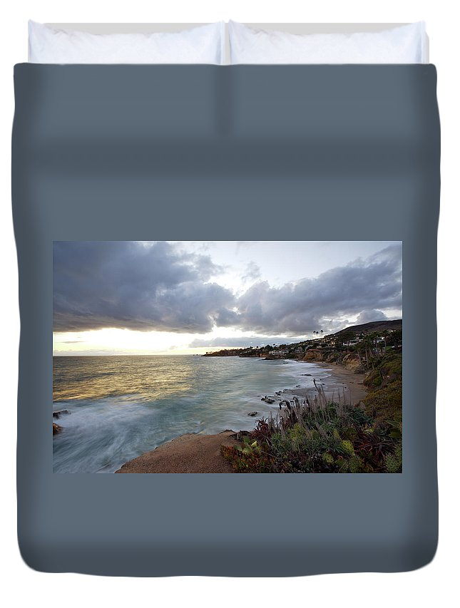 Laguna Beach Duvet Cover featuring the photograph Beautiful Laguna Coast After Sunset by Ekash