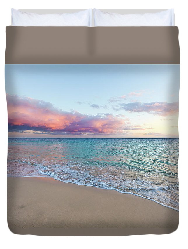 Water's Edge Duvet Cover featuring the photograph Beautiful Seascape, Beach And Ocean At by Zodebala