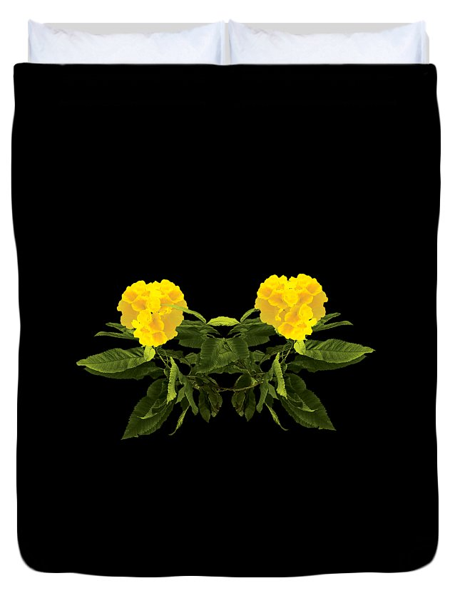 Wall Art Duvet Cover featuring the digital art Beautiful Yellow Flower by Anita Morya