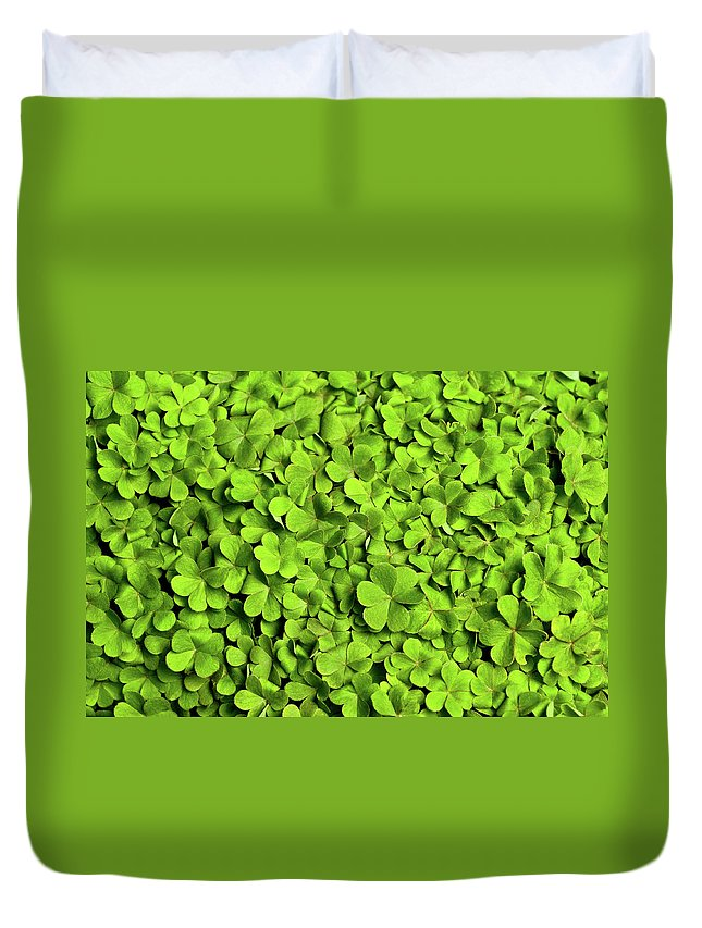 Leaf Duvet Cover featuring the photograph Bed Of Clover by Kledge