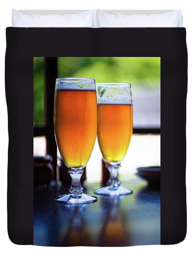 Alcohol Duvet Cover featuring the photograph Beer Glass by Sakura chihaya+