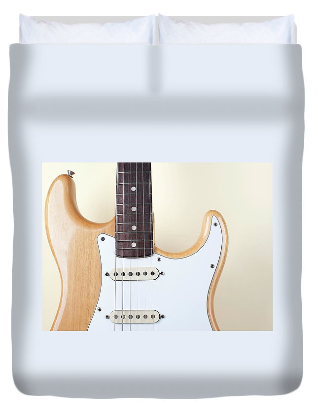 Rock Music Duvet Cover featuring the photograph Beige Wood Textured Electric Guitar by Neyya