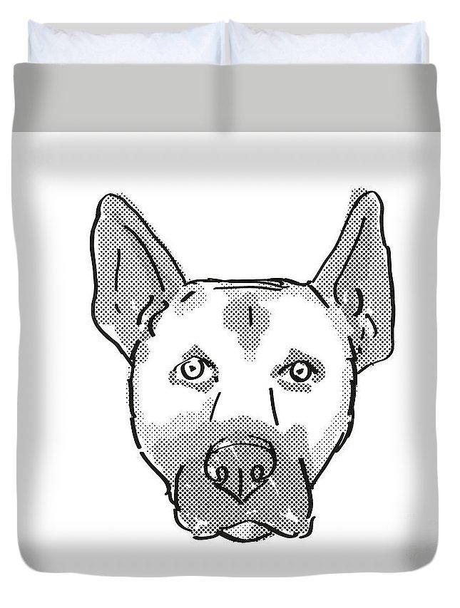 Retro Duvet Cover featuring the digital art Belgian Malinois Dog Breed Cartoon Retro Drawing by Aloysius Patrimonio