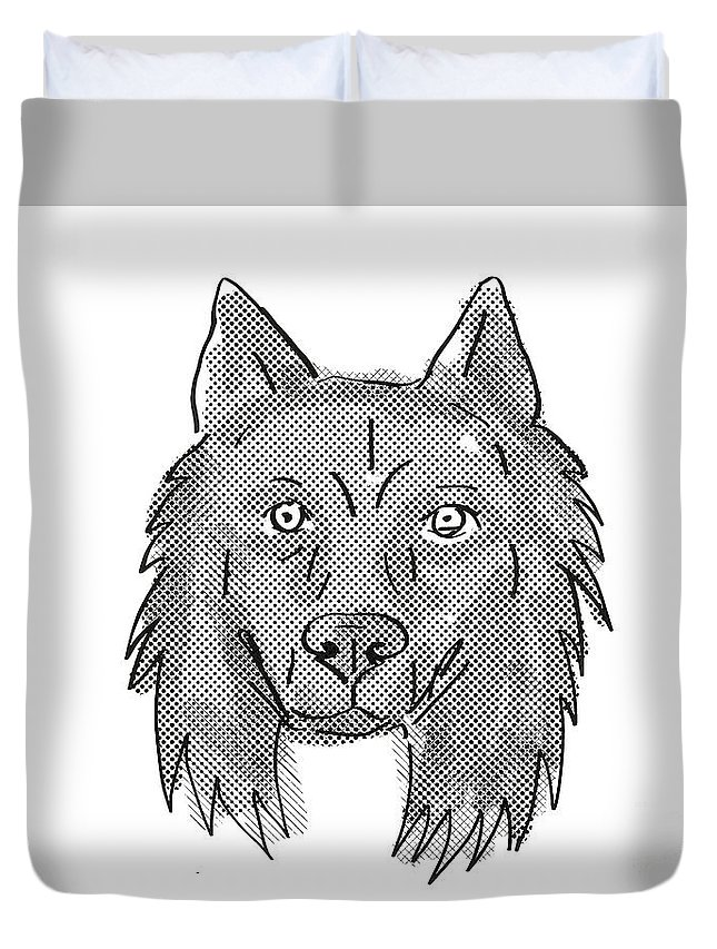 Retro Duvet Cover featuring the digital art Belgian Sheepdog Dog Breed Cartoon Retro Drawing by Aloysius Patrimonio