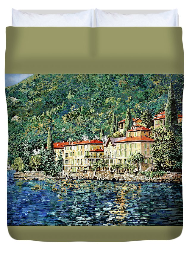 Landscape Duvet Cover featuring the painting Bellano On Lake Como by Guido Borelli