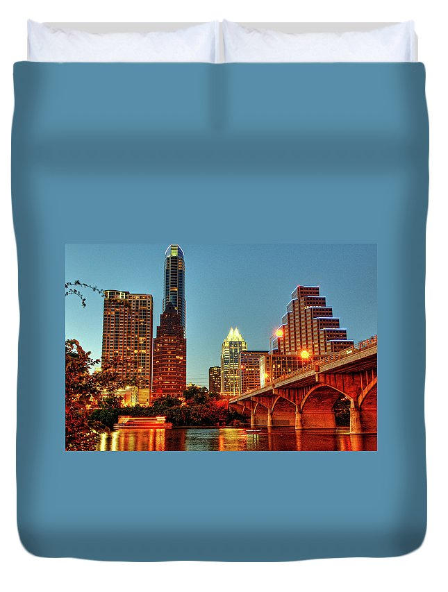 Arch Duvet Cover featuring the photograph Below Congress Avenue Bridge by David Hensley
