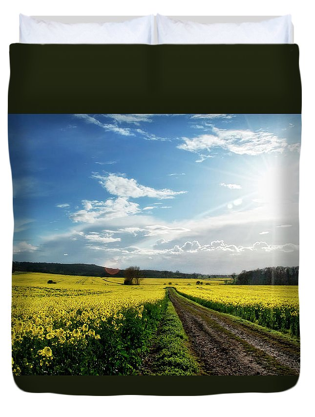 Tranquility Duvet Cover featuring the photograph Belvoir Fields by Petertowle